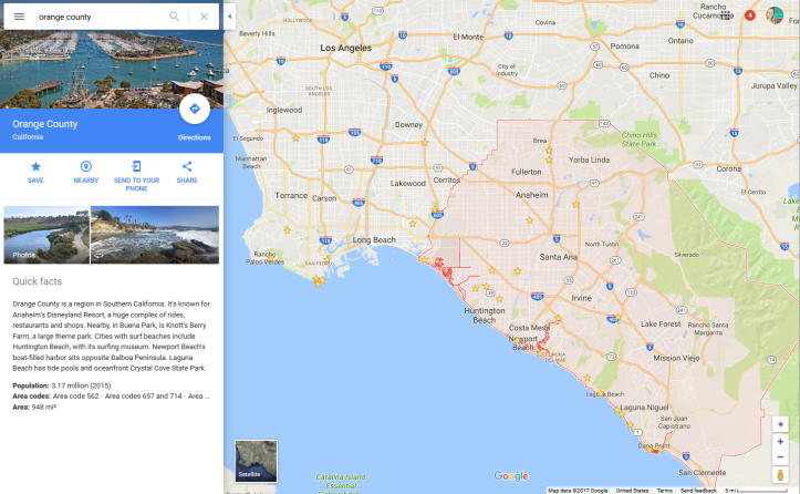 Google Mpas of Orange County in relation to Los Angeles