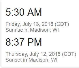 sunrise sunset in Wisconsin
