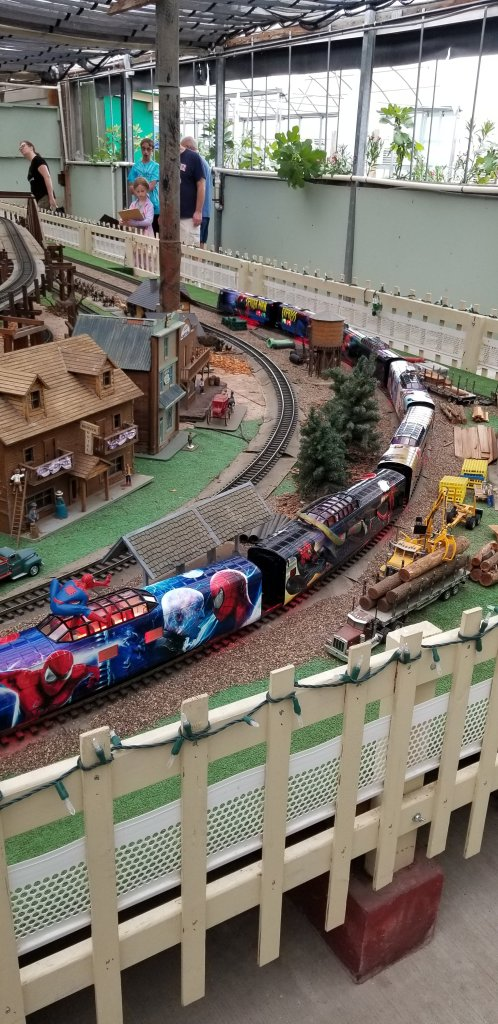 Spideman themed model train